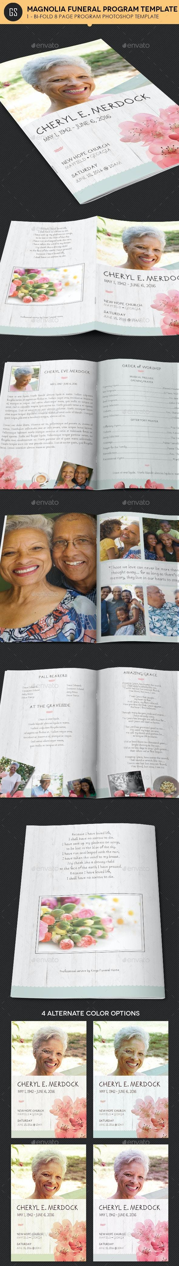 Magnolia Funeral Program Template - Informational Brochures