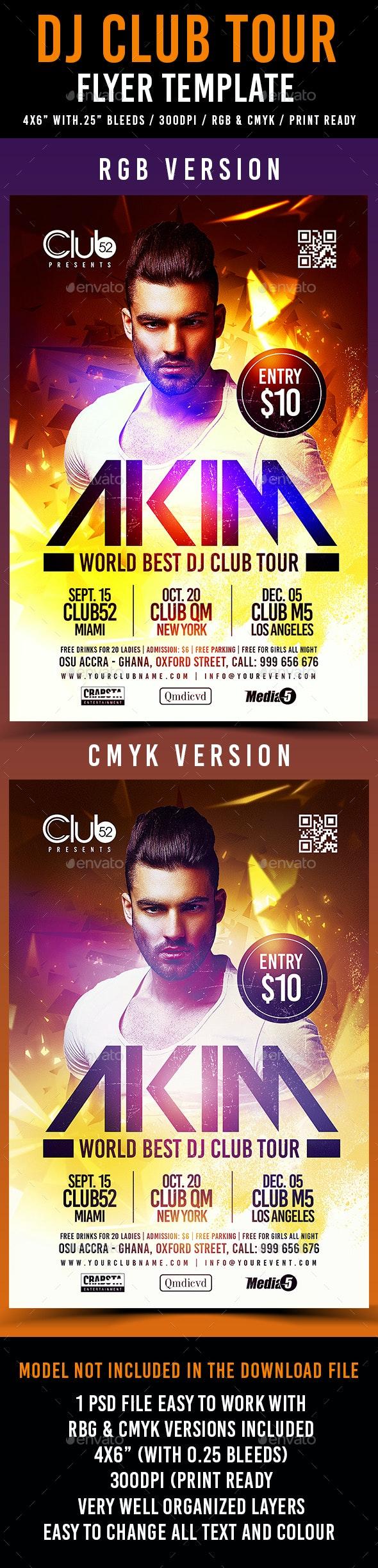 DJ Club Tour Flyer Template  - Clubs & Parties Events
