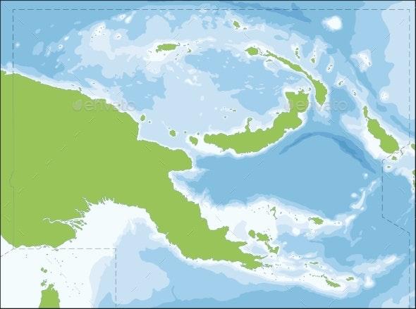 Papua New Guinea Map - Travel Conceptual