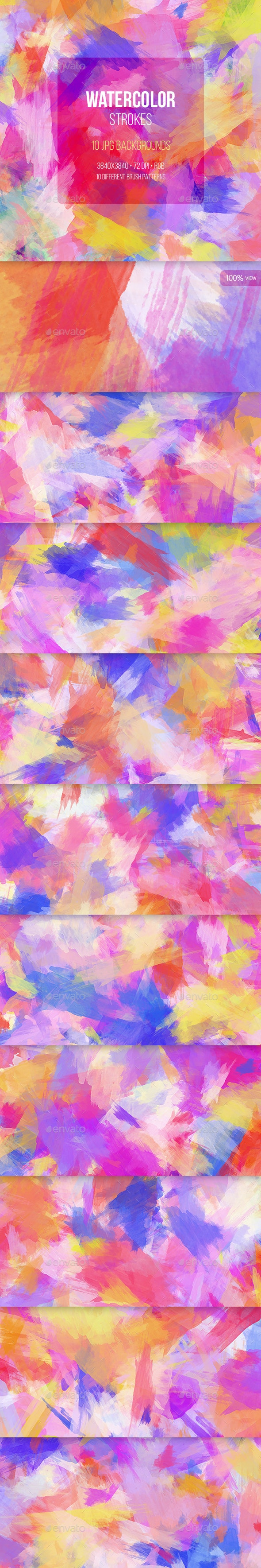 Watercolor Strokes - Backgrounds Graphics