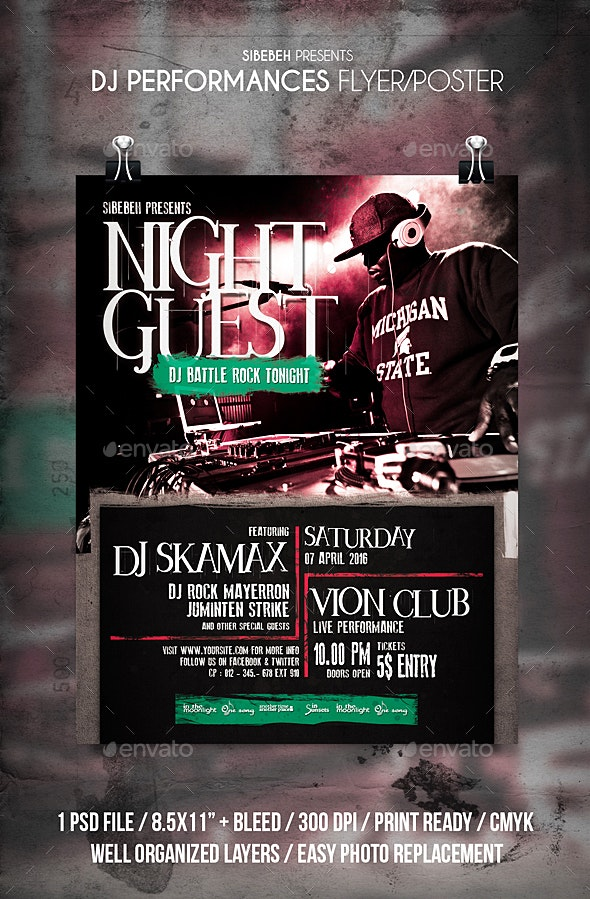 DJ Performances Flyer / Poster - Clubs & Parties Events