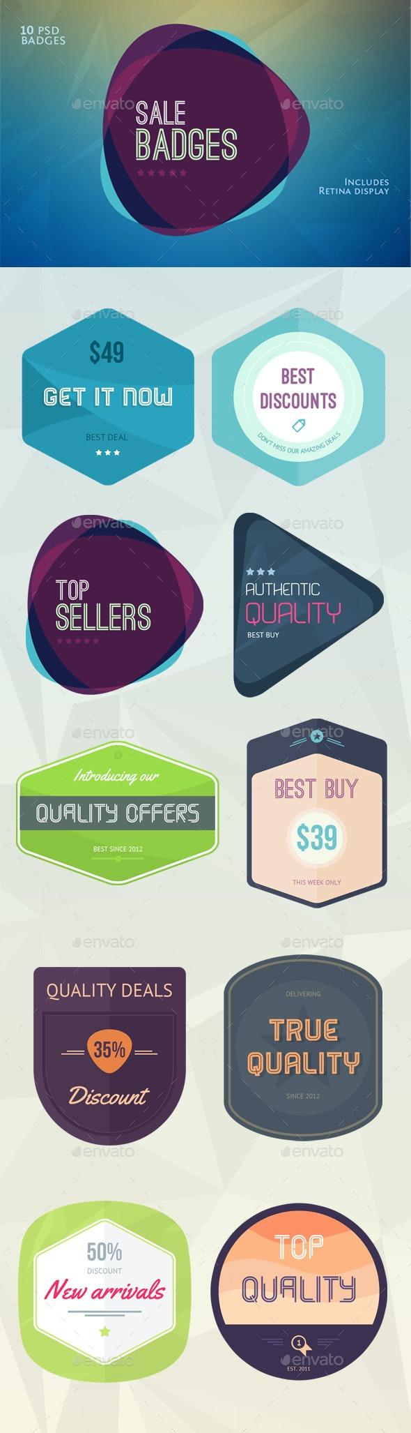 Flat Flavour Sales Badges - Badges & Stickers Web Elements
