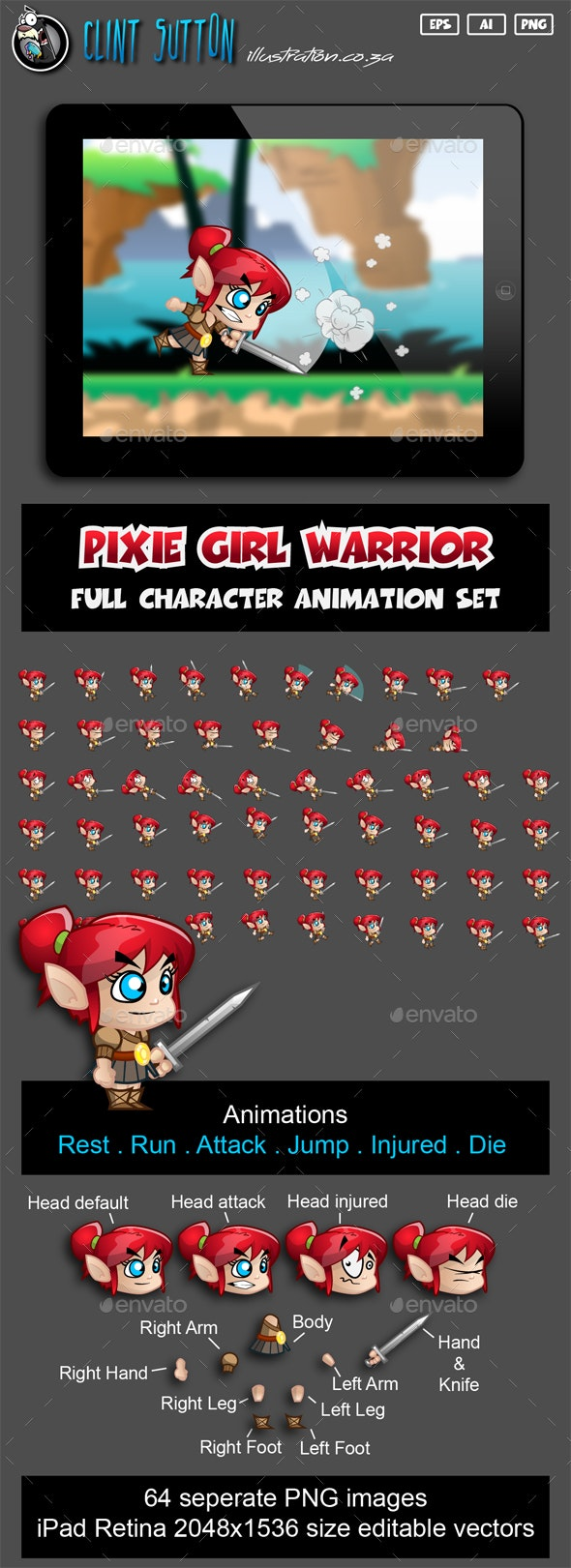 Pixie Girl Warrior Character Set - Sprites Game Assets