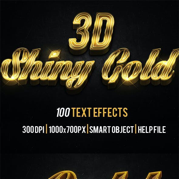 100 3D Shiny Gold Text Effects