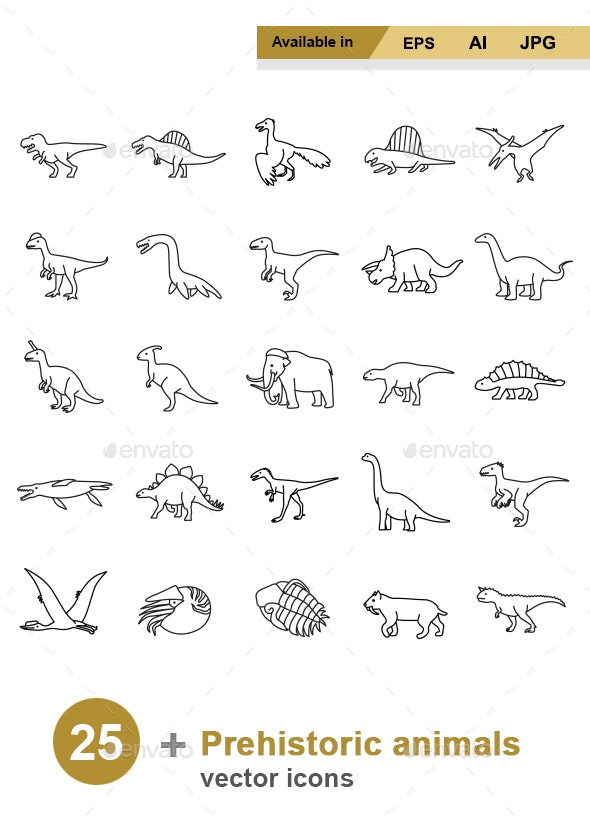Prehistoric Animals Outlines vector icons - Animals Characters