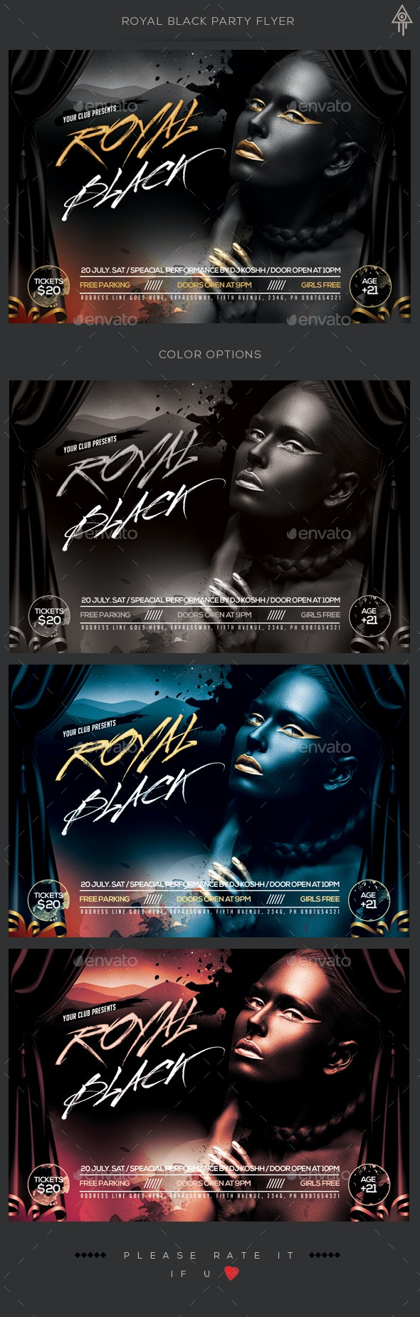 Royal Black Party Flyer - Clubs & Parties Events