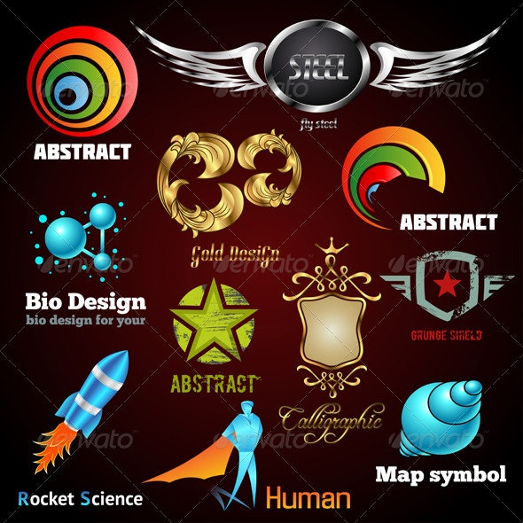 Collection of glossy and 3d vector icons - Decorative Symbols Decorative