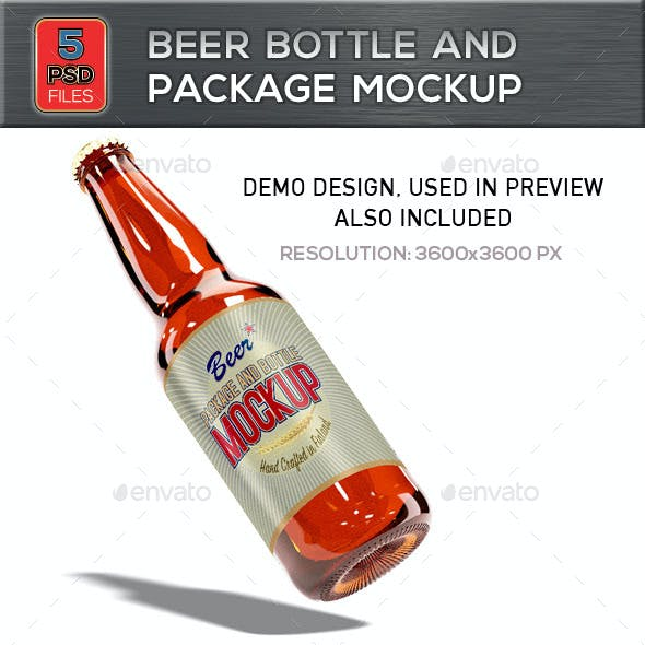 Beer Bottle and Package Mockup