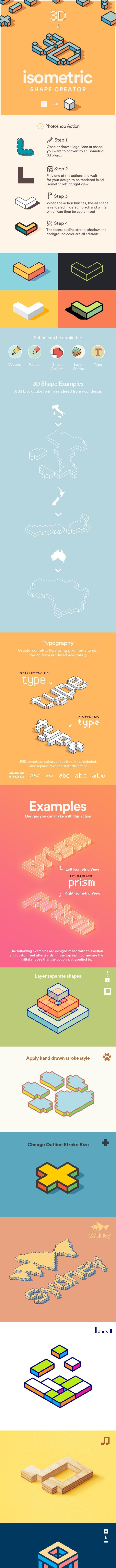 3D Isometric Shape Creator - Actions Photoshop