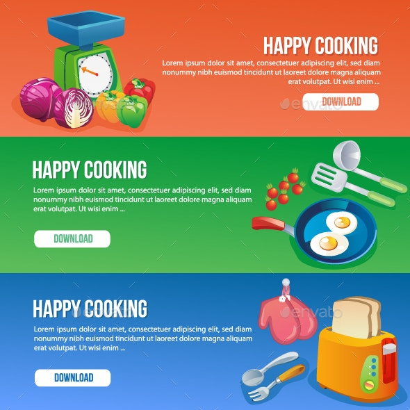 3 Cooking Banners - Food Objects