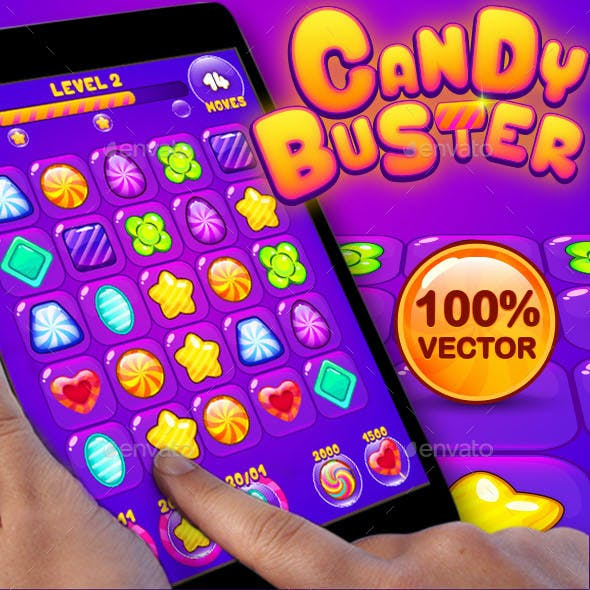 Candy Buster: Match-3 Puzzle Game UI Pack