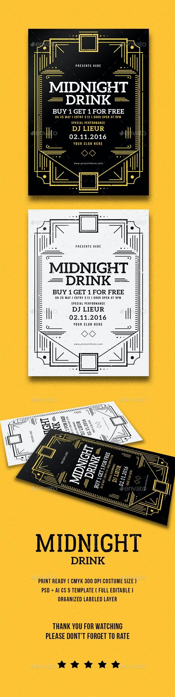 Midnight Drink Flyer - Flyers Print Templates