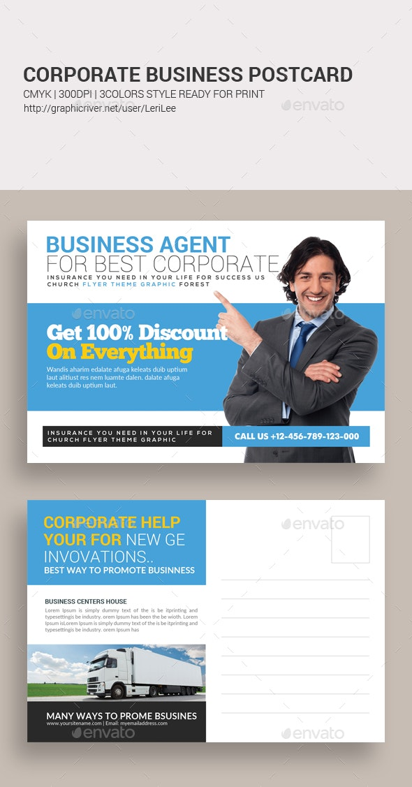 Business Solutions Postcard Template - Cards & Invites Print Templates