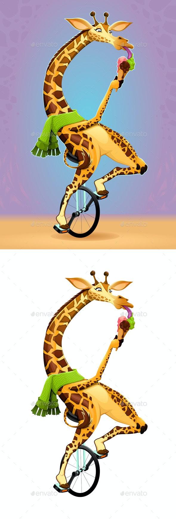 Giraffe on an Unicycle - Animals Characters