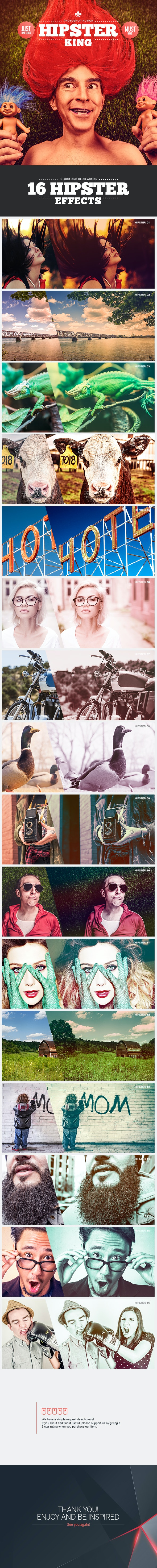 Hipster King - Photoshop Action - Photo Effects Actions
