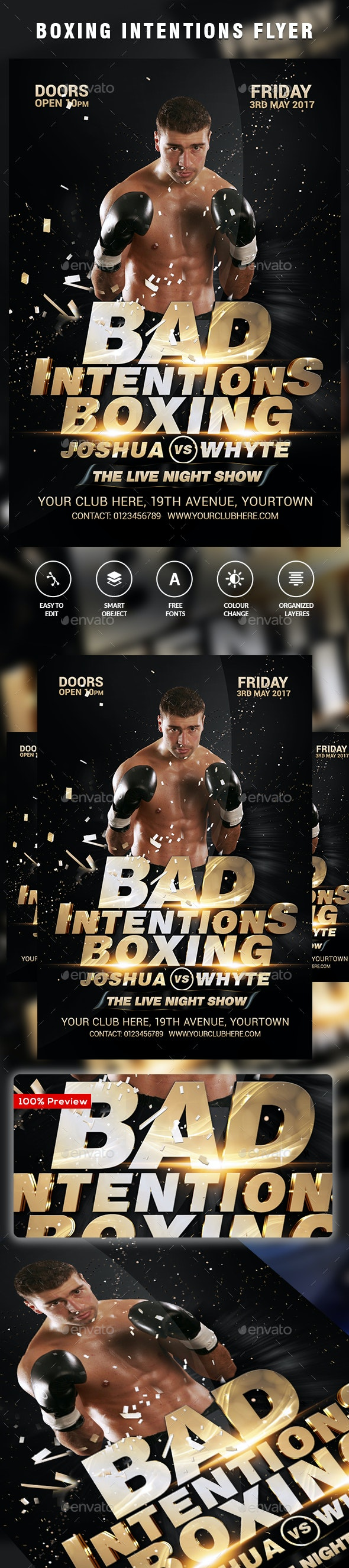 MMA - Boxing Flyer Template - Clubs & Parties Events