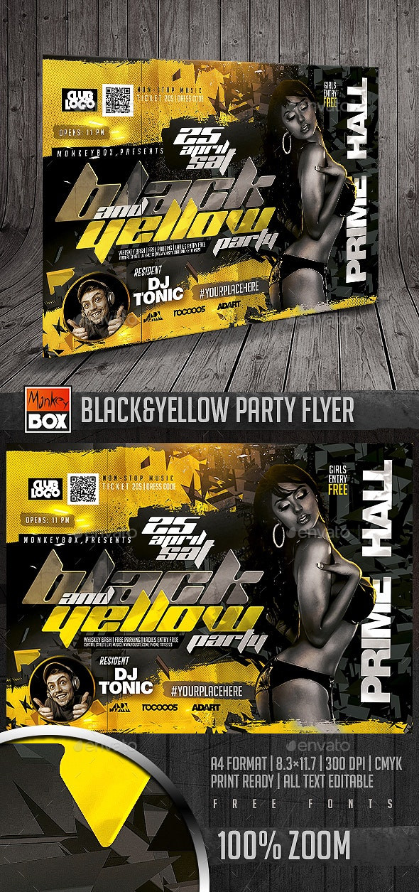 Black&Yellow Party Flyer - Clubs & Parties Events