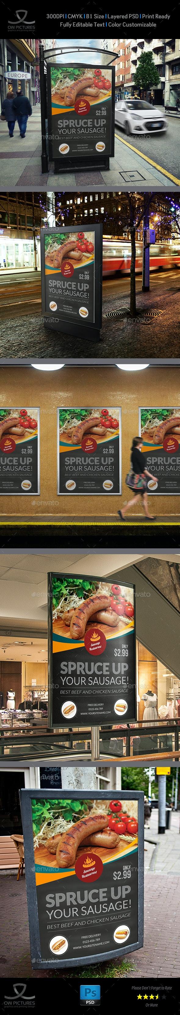 Sausage Restaurant Poster Template - Signage Print Templates