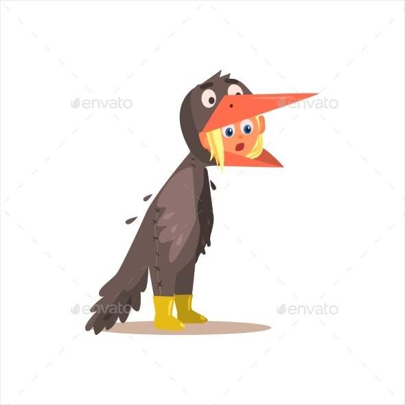 Girl Desguised as Crow - Animals Characters