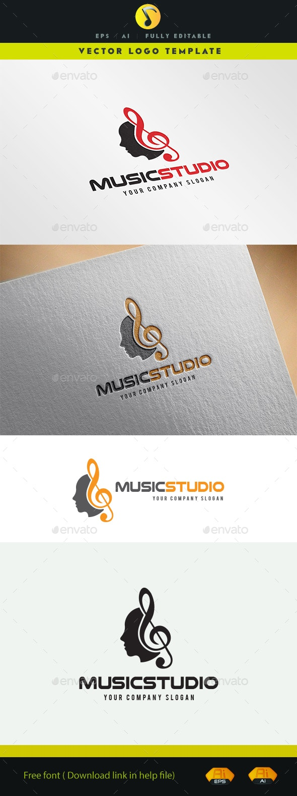 Music Studio - Objects Logo Templates