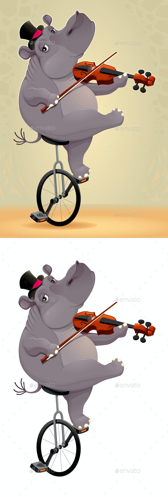 Hippo on an Unicycle - Animals Characters