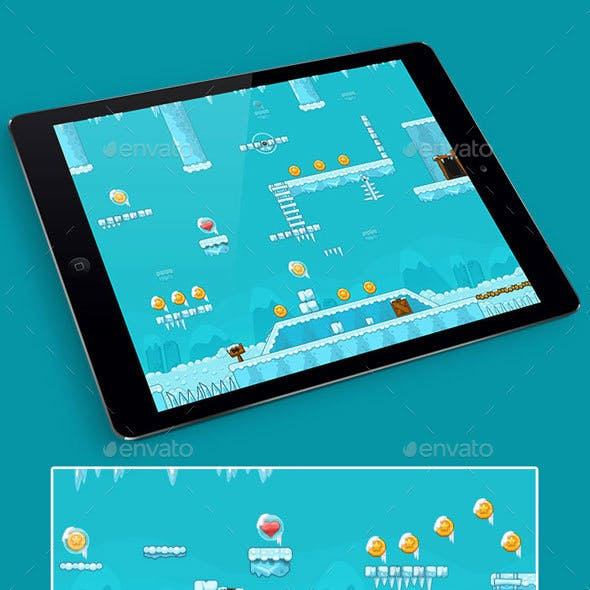 2D Ice Game Platformer Tilesets