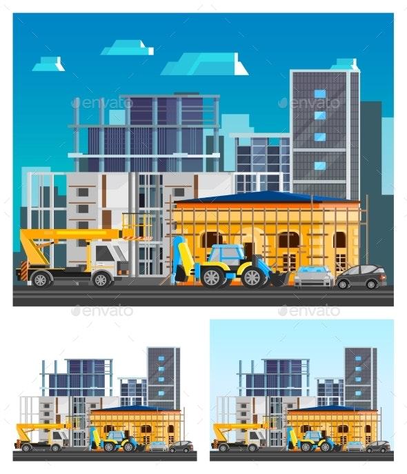 Building Construction Compositions Set - Industries Business