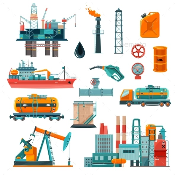 Oil Industry Cartoon Icons Set - Industries Business
