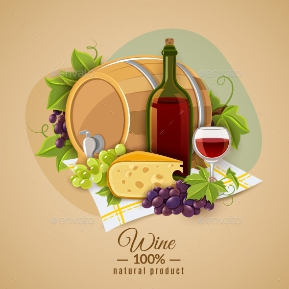 Wine and Cheese Poster - Food Objects