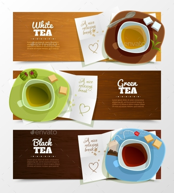 Tea Banners Set - Food Objects