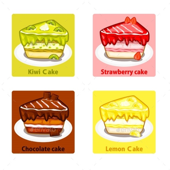 Icons Set with Colorful Sweet Cakes - Birthdays Seasons/Holidays