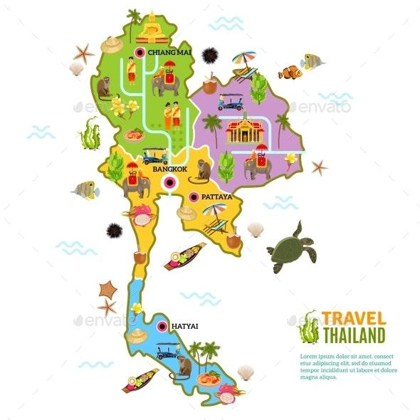 Thailand Map Poster - Travel Conceptual