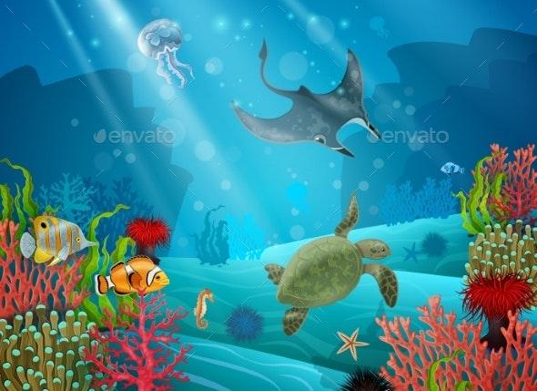Underwater Cartoon Landscape - Animals Characters