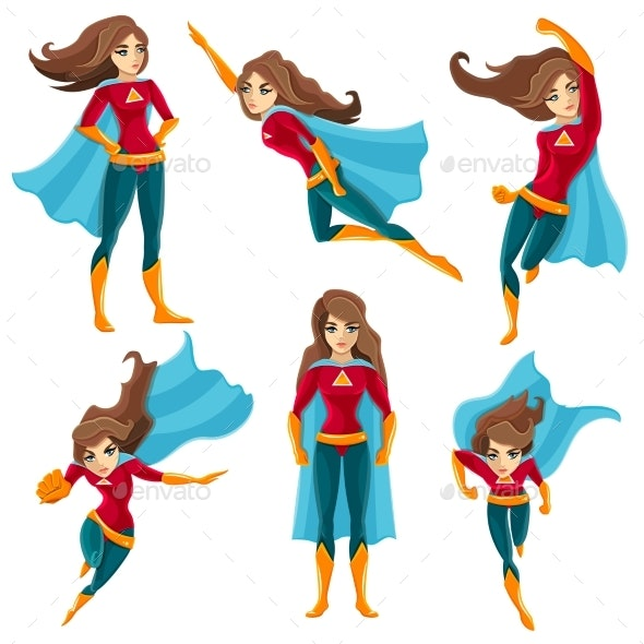 Superwoman Actions Icon Set - People Characters