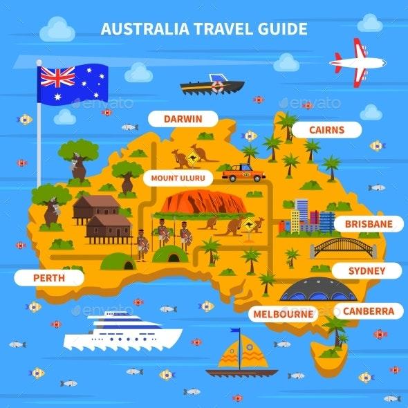 Australia Travel Guide Illustration  - Travel Conceptual