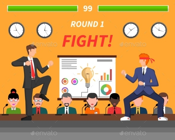 Business Competition Symbols Fight Banner  - Concepts Business