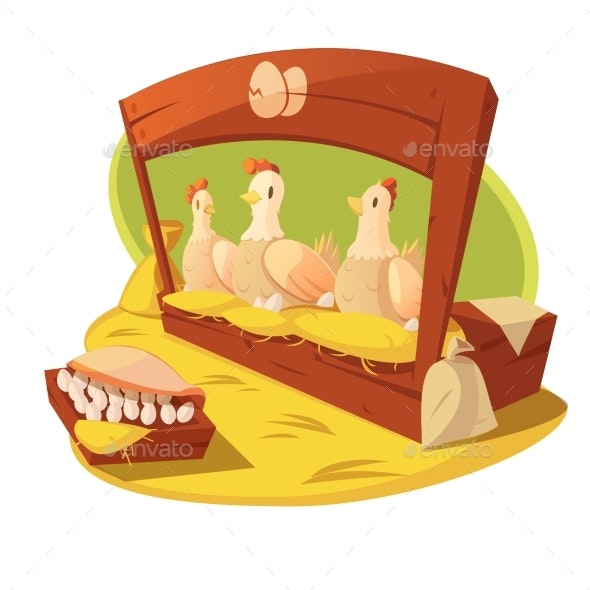 Hen and Eggs Cartoon Concept  - Animals Characters