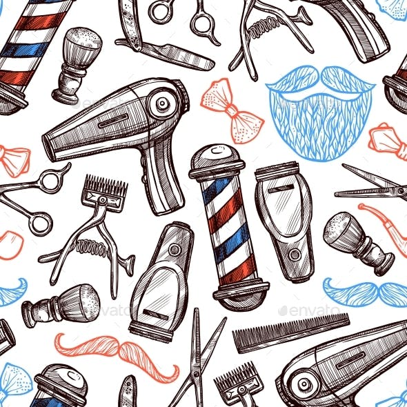 Barber Shop Attributes Doodle Seamless Pattern
