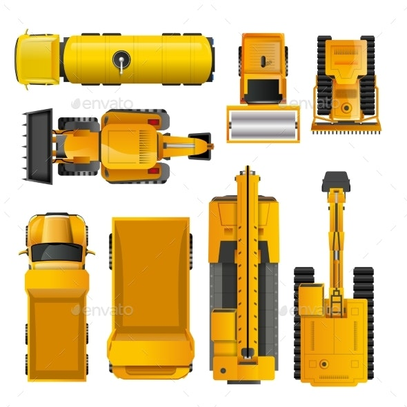Construction Machines Top View - Man-made Objects Objects