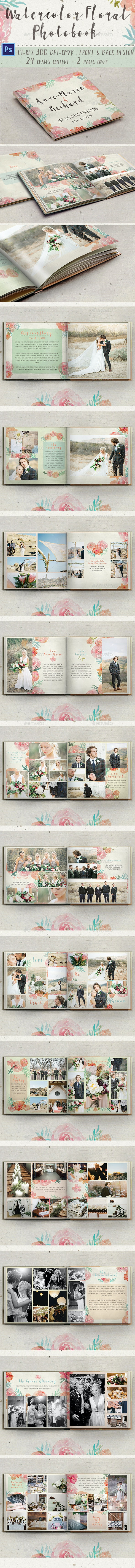 Watercolor Floral Photobook - Photo Albums Print Templates