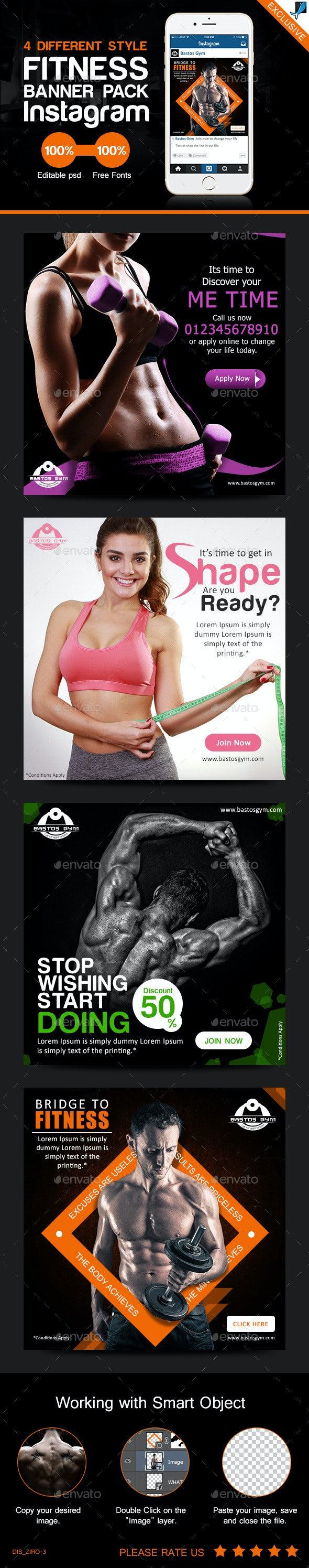 Fitness Banner Pack for Instagram - Banners & Ads Web Elements