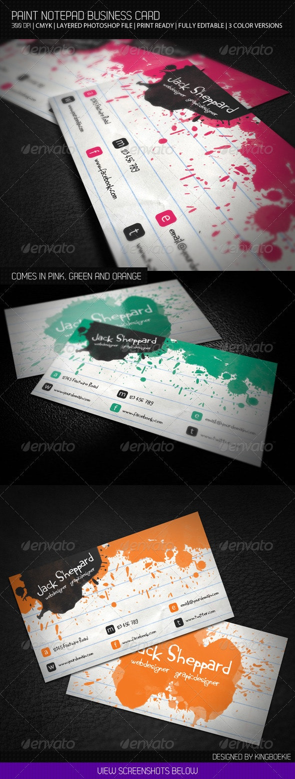 Paint Notepad Business Card - Creative Business Cards