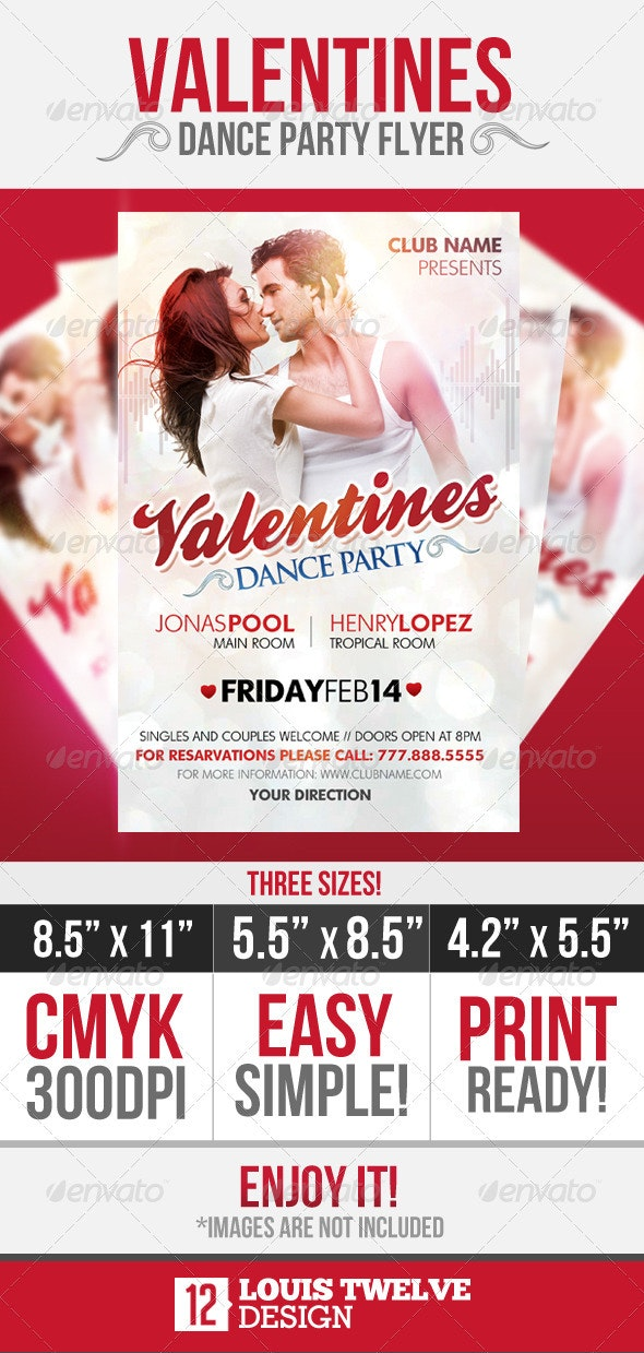 Valentines Dance Party Flyer - Clubs & Parties Events