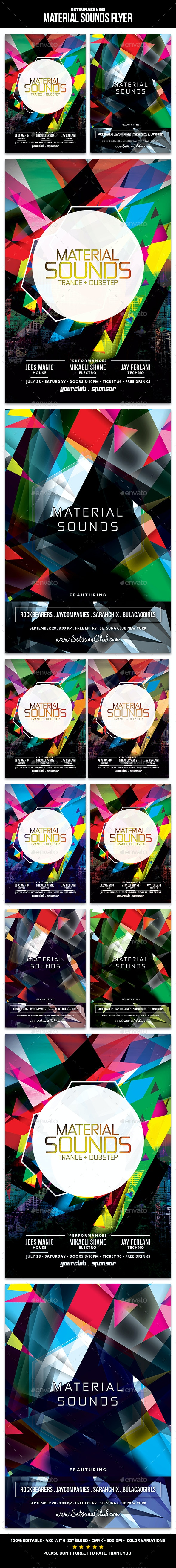 Material Sounds Flyer - Clubs & Parties Events