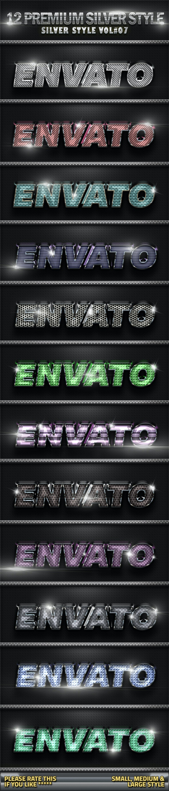 12 Metal Silver Photoshop Style V07 - Text Effects Styles