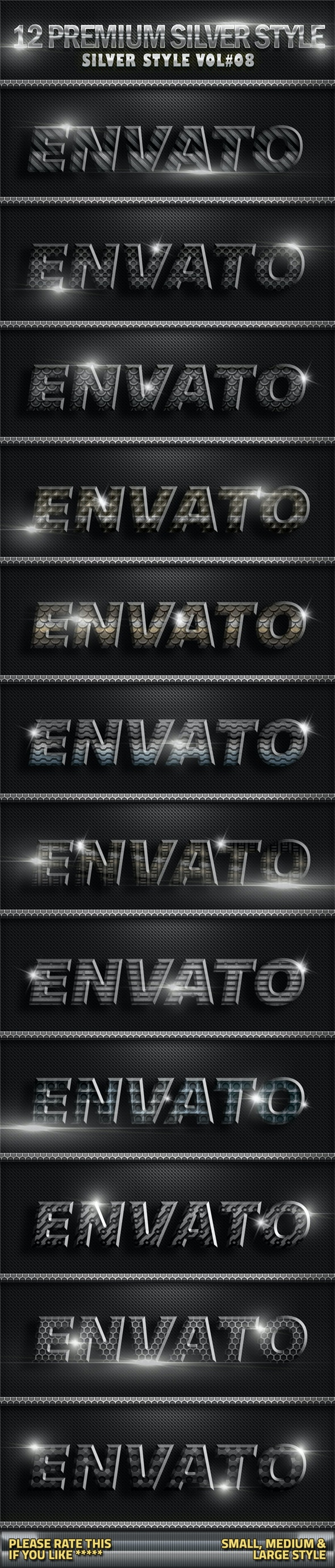 12 Metal Silver Photoshop Style V08 - Text Effects Styles