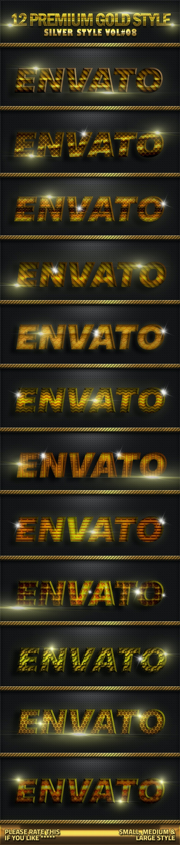 12 Metal Gold Photoshop Style V08 - Text Effects Styles