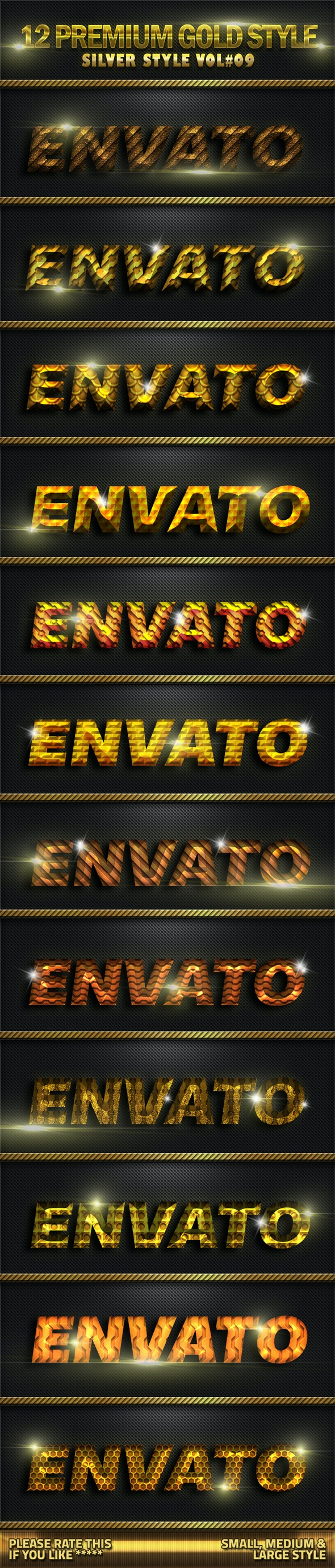 12 Metal Gold Photoshop Style V09 - Text Effects Styles