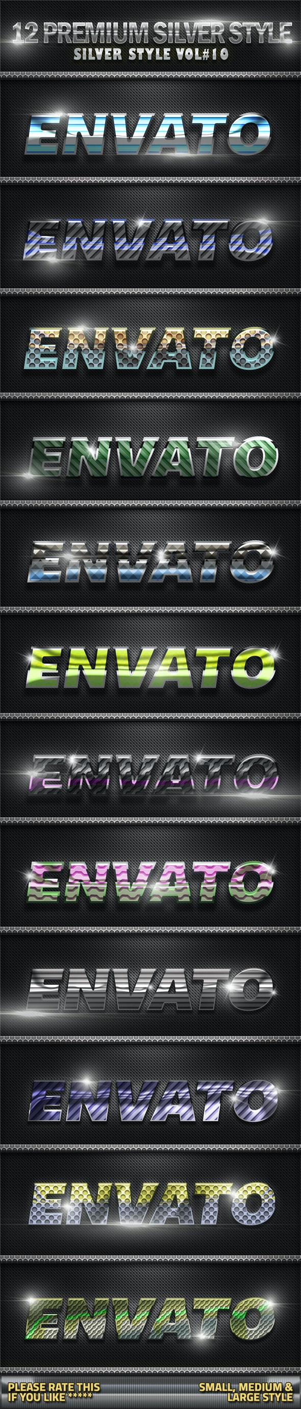 12 Metal Silver Photoshop Style V10 - Text Effects Styles