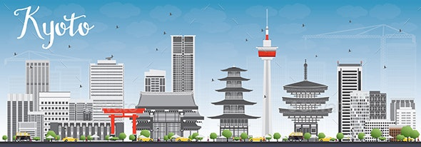 Kyoto Skyline with Gray Landmarks and Blue Sky - Buildings Objects